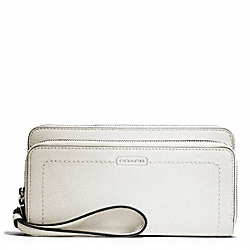 COACH PARK LEATHER DOUBLE ACCORDION ZIP - SILVER/PARCHMENT - F49157