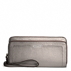 PARK LEATHER DOUBLE ACCORDION ZIP - SILVER/PEWTER - COACH F49157