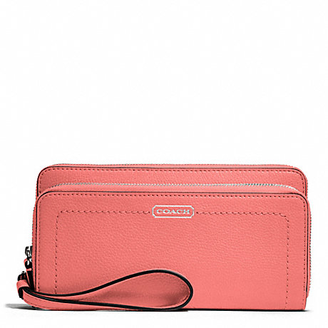 COACH PARK LEATHER DOUBLE ACCORDION ZIP WALLET - SILVER/TEAROSE - f49157