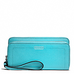 COACH PARK LEATHER DOUBLE ACCORDION ZIP WALLET - SILVER/TURQUOISE - F49157