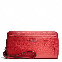 COACH PARK LEATHER DOUBLE ACCORDION ZIP - SILVER/VERMILLION - F49157