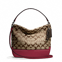 COACH PARK SIGNATURE MINI DUFFLE CROSSBODY - SILVER/KHAKI/BLACK CHERRY - F49158