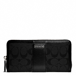 COACH PARK SIGNATURE ACCORDION ZIP - SILVER/BLACK/BLACK - F49159