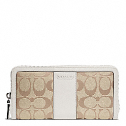 COACH PARK SIGNATURE ACCORDION ZIP WALLET - SILVER/LIGHT KHAKI/PEARL - F49159