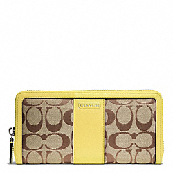 COACH PARK SIGNATURE ACCORDION ZIP WALLET - SILVER/KHAKI/CHARTREUSE - F49159