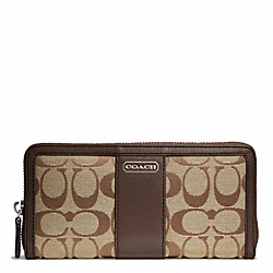 COACH PARK SIGNATURE ACCORDION ZIP - SILVER/KHAKI/MAHOGANY - F49159