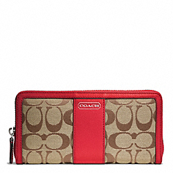 COACH PARK SIGNATURE ACCORDION ZIP - SILVER/KHAKI/VERMILLION - F49159