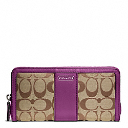 COACH PARK SIGNATURE ACCORDION ZIP - SILVER/KHAKI/AMETHYST - F49159
