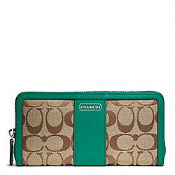 COACH PARK SIGNATURE ACCORDION ZIP - SILVER/KHAKI/BRIGHT JADE - F49159