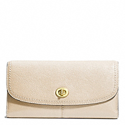 COACH PARK LEATHER CHECKBOOK - BRASS/STONE - F49164