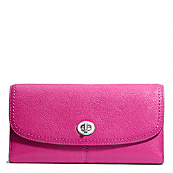 COACH PARK LEATHER CHECKBOOK - SILVER/BRIGHT MAGENTA - F49164