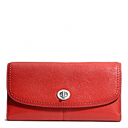 COACH PARK LEATHER CHECKBOOK - SILVER/VERMILLION - F49164
