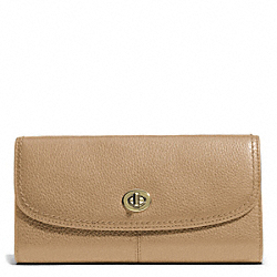 PARK LEATHER TURNLOCK SLIM ENVELOPE - BRASS/SAND - COACH F49167