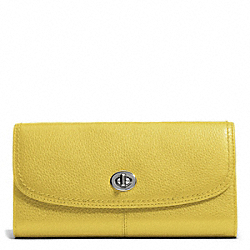 COACH PARK LEATHER TURNLOCK SLIM ENVELOPE - SILVER/CHARTREUSE - F49167