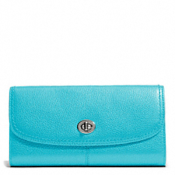 COACH PARK LEATHER TURNLOCK SLIM ENVELOPE - SILVER/TURQUOISE - F49167