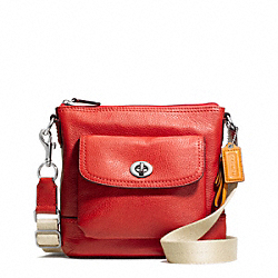 COACH PARK LEATHER SWINGPACK - SILVER/VERMILLION - F49170