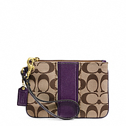 COACH SIGNATURE STRIPE SMALL WRISTLET - BRASS/KHAKI/PURPLE - F49174