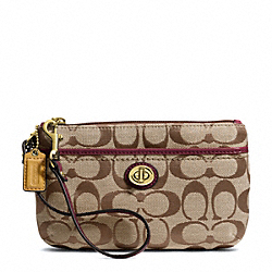 COACH PARK SIGNATURE MEDIUM WRISTLET - BRASS/KHAKI/BURGUNDY - F49175