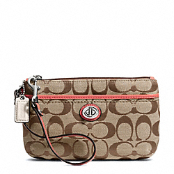 COACH PARK SIGNATURE MEDIUM WRISTLET - SILVER/KHAKI/TEAROSE - F49175