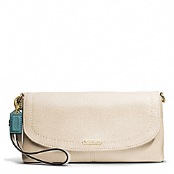 COACH PARK LEATHER LARGE FLAP WRISTLET - BRASS/STONE - F49177