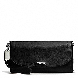 COACH PARK LEATHER LARGE FLAP WRISTLET - SILVER/BLACK - F49177