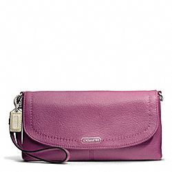 COACH PARK LEATHER LARGE FLAP WRISTLET - SILVER/ROSE - F49177