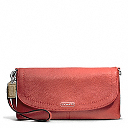 COACH PARK LEATHER LARGE FLAP WRISTLET - SILVER/SIENNA - F49177