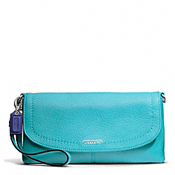 COACH PARK LEATHER LARGE FLAP WRISTLET - SILVER/TURQUOISE - F49177