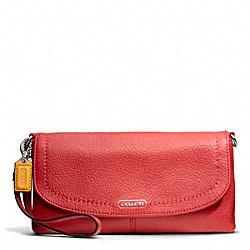 COACH PARK LEATHER LARGE FLAP WRISTLET - SILVER/VERMILLION - F49177