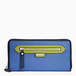 COACH DAISY SPECTATOR LEATHER ACCORDIAN ZIP - SILVER/MOONLIGHT BLUE MULTI - F49184