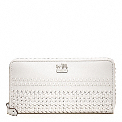 COACH MADISON WOVEN LEATHER ACCORDION ZIP - ONE COLOR - F49195