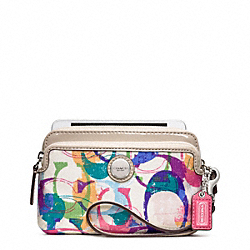 POPPY STAMPED C DOUBLE ZIP WRISTLET COACH F49206