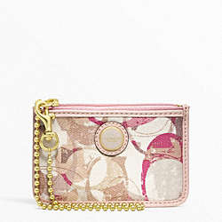 COACH POPPY STAMPED C ID SKINNY - BRASS/NEUTRAL MULTI - F49208
