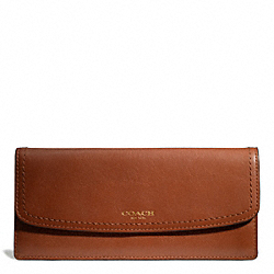 COACH LEATHER NEW SOFT WALLET - BRASS/COGNAC - F49229