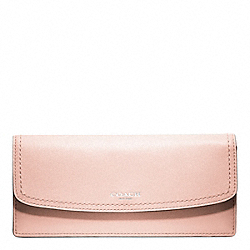 COACH LEATHER SOFT WALLET - SILVER/BLUSH - F49229