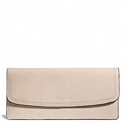 COACH LEATHER SOFT WALLET - SILVER/LIGHT GOLDGHT SAND - F49229
