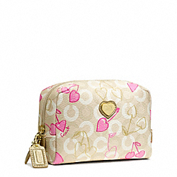 COACH WAVERLY CHERRY COSMETIC CASE - BRASS/KHAKI/PINK - F49237