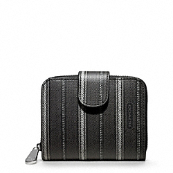 COACH WEEKEND TICKING STRIPE MEDIUM ZIP AROUND - SILVER/BLACK - F49251