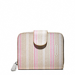 COACH WEEKEND TICKING STRIPE MEDIUM ZIP AROUND - SILVER/KHAKI PINK - F49251
