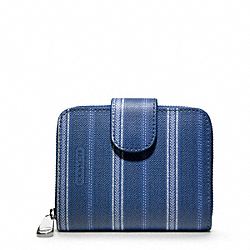 COACH WEEKEND TICKING STRIPE MEDIUM ZIP AROUND - SILVER/NAVY - F49251