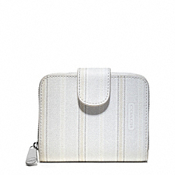 COACH WEEKEND TICKING STRIPE MEDIUM ZIP AROUND - SILVER/WHITE - F49251