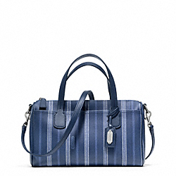 COACH WEEKEND TICKING STRIPE MINI SATCHEL - SILVER/NAVY - F49254