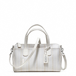 COACH WEEKEND TICKING STRIPE MINI SATCHEL - SILVER/WHITE - F49254