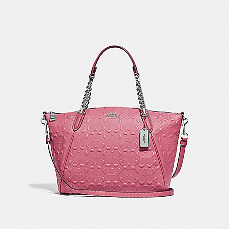 COACH SMALL KELSEY CHAIN SATCHEL IN SIGNATURE LEATHER - STRAWBERRY/SILVER - F49317