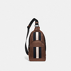 HOUSTON PACK WITH VARSITY STRIPE - SADDLE/MIDNIGHT NVY/CHALK/BLACK ANTIQUE NICKEL - COACH F49318