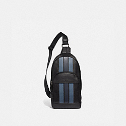 HOUSTON PACK WITH VARSITY STRIPE - BLACK/DENIM/MIDNIGHT NVY/BLACK ANTIQUE NICKEL - COACH F49318