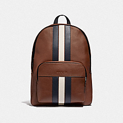 HOUSTON BACKPACK WITH VARSITY STRIPE - SADDLE/MIDNIGHT NVY/CHALK/BLACK ANTIQUE NICKEL - COACH F49324