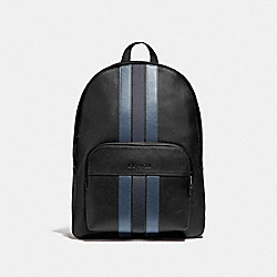 HOUSTON BACKPACK WITH VARSITY STRIPE - BLACK/DENIM/MIDNIGHT NVY/BLACK ANTIQUE NICKEL - COACH F49324