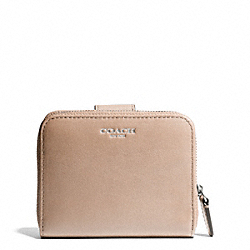 COACH LEATHER MEDIUM ZIP AROUND WALLET - SILVER/LIGHT KHAKI - F49326