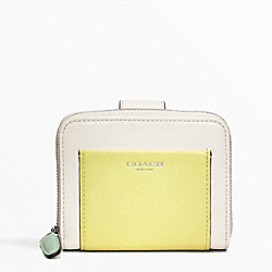 COACH COLORBLOCK LEATHER MEDIUM ZIP AROUND - SILVER/PARCHMENT/CITRINE - F49330